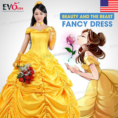 Adult Beauty and The Beast Princess Belle Cosplay Costume Fancy Ball Gown Dress