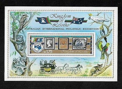 LESOTHO - 1984 Ausipex 84, Mail Coach, Koala, Birds, mint mini sheet, MNH MUH