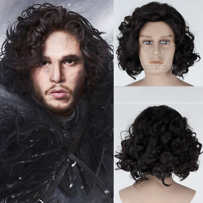 Hot Game of Thrones Jon Snow Short Black Curly Cosplay Party Hair Full Wig Wigs