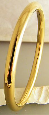 "Gold Classic Golf Creola Baby Bangle Size 48mm - 1 7/8"" Gold Plated"