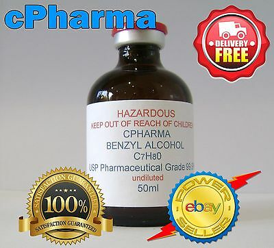 BENZYL ALCOHOL USP 99.9% PHARMACEUTICAL GRADE 50ml ( UNDILUTED )
