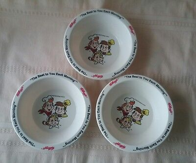 Kelloggs cereal bowls x 3 1995 snap,crackle,pop melamine collectable