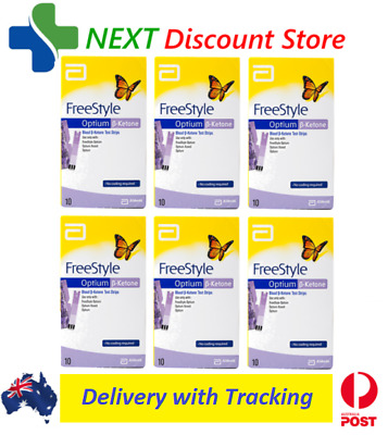 Ketone Test Strips 6x 10 Pack (60 Strips) FreeStyle Optium Blood Abbott UNBOXED