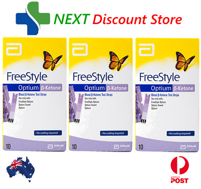 Ketone Test Strips 3x 10 Pack (30 Strips) FreeStyle Optium Blood Abbott UNBOXED