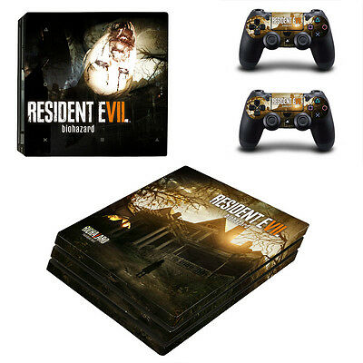 Playstation 4 PS4 Pro Console Skin Sticker New Resident Evil + 2 Controllers