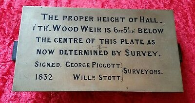 Authentic Hall i'th Wood Weir Museum Bolton 1832 Brass Height Plaque MUST SEE!!