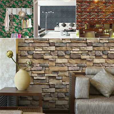 3D Wall Brick Stone Paper Rustic Effect Self-adhesive Wall Sticker Home Decor