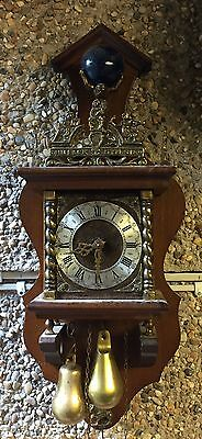 "Zaandam  Dutch Mahogany Case 2 Weights Driven Striking Wall Clock GWO 18""'H"