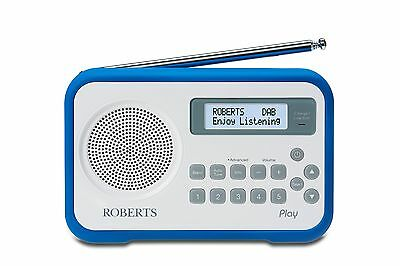 Roberts PLAY white & dark blue bumper DAB/DAB+/FM RDS built-in battery charger