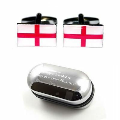 English St George Cross Flag Cufflinks & Engraved Gift Box