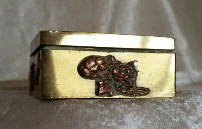 Antique Japanese Brass & Copper Small Decorative Handmade Box 19th Century