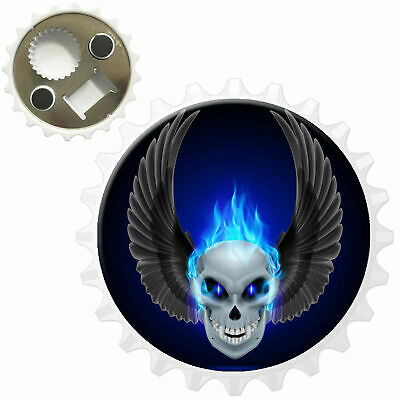 Purple Flaming Fire Skulls Bottle Opener Fridge Magnet