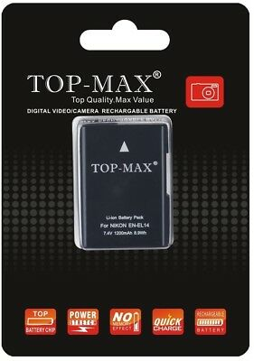 TOP-MAX EN-EL14 EN-EL14a Li-ion Battery For Nikon D3300 D3400 D5300 D5500 D5600