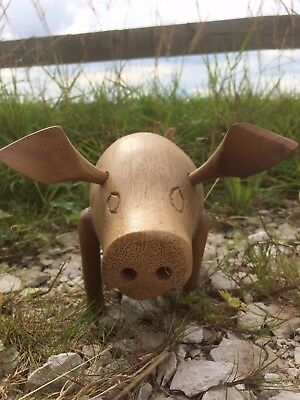 Hand Made Carved Bamboo Root Wooden PIG Fair Trade Bali Handicraft Carving