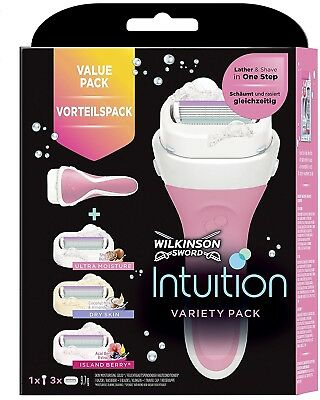 Wilkinson Sword Intuition Variety Razor Blades with 3 Blades for Women PACK OF 4