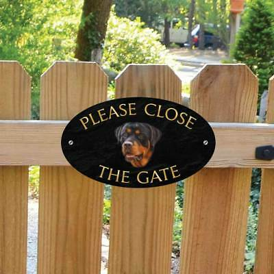 Rottweiler Sign, Please Close The Gate Sign, Outdoor Rottweiler Dog Gate Plaque