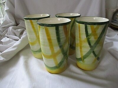 Vernon Kilns green yellow Homespun lot of 4 tumblers drinking glasses no chips