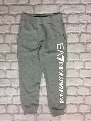 Emporio Armani Ea7 Youth Girls 8A Grey Logo Jogging Bottoms Sweatpants Track