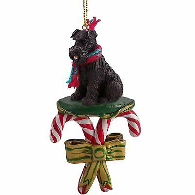SCHNAUZER Dog Black Uncropped CANDY CANE Christmas Ornament New DCC103A