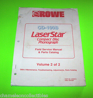 -100B Laserstar Rowe Original Jukebox Phonograph Service Repair & Parts Catalog