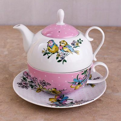 Katie Alice Fine China Bird Song Tea For One - Pretty Pastel Pinks and Whites