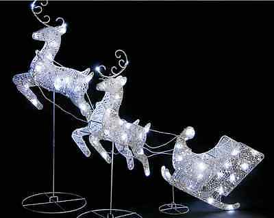 Silver Led Lights Reindeer Deer Sleigh Outdoor Garden Christmas Decoration