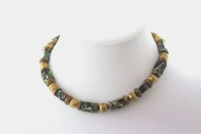 Vintage Art Deco Multi Colored Art Glass Necklace on Chain Old Clasp