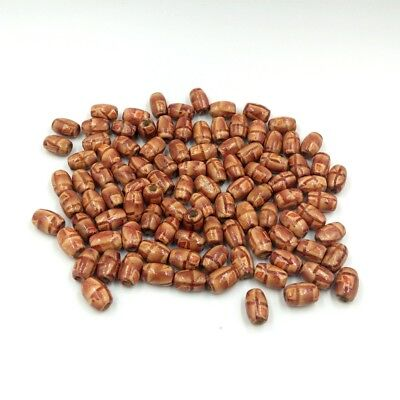 100pcs Printed Wooden Barrel Beads Jewelry Making Loose Spacer Beads 12mm