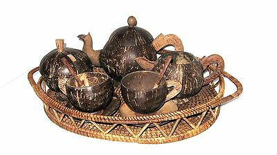 PACIFIC ISLAND COCONUT SHELL COFFEE/TEA SERVICE- 10 pc. Unique, Hand-Crafted