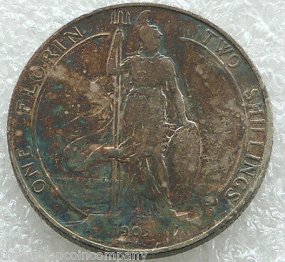 1905 Great Britain Edward VII One Florin Two Shillings Silver Coin