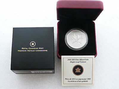 2011 Canada Maple Leaf Forever $10 Ten Dollar Silver 1/2oz Coin Box Coa
