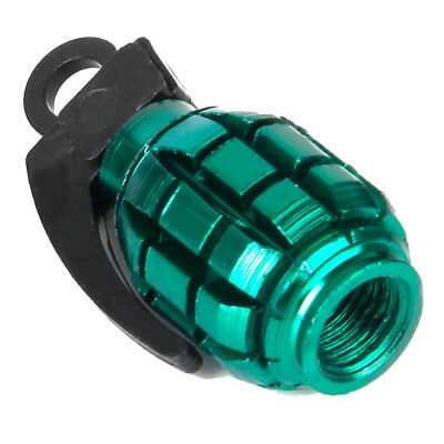 2X(2pcs Bicycle Metal Grenade Shaped Tyre Valve Dust Cap Cover - Green T4F3)