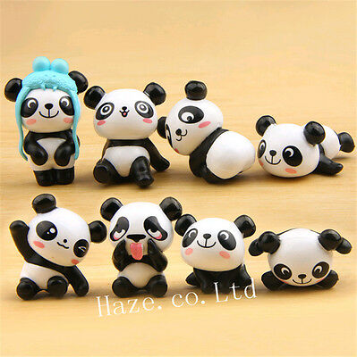 8pcs/Set Panda Cute Figure Toy Home Decoration Statue Xmas Gift