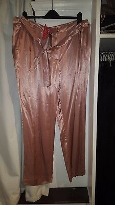 rose gold silk trousers