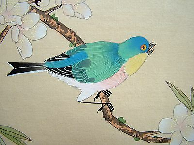 Vintage Original Hand Painted Chinese Silk Painting of Blue Bird