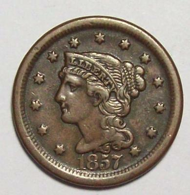 1857 BRAIDED HAIR Large CENT Better Date Original Sharp VF  Free US Ship #27B52