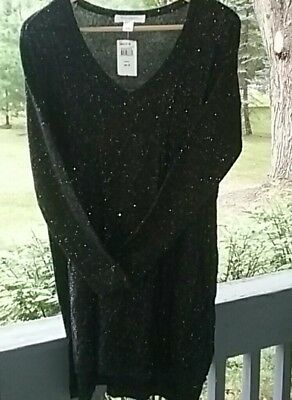 Motherhood Maternity Black Sparkly Holiday/Party Sweater Size M
