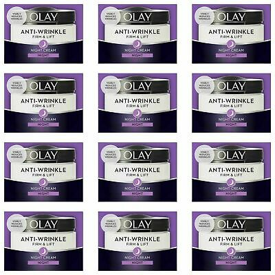 12 Olay Anti-Wrinkle Firm Lift AntiAgeing Moisturiser Night Cream Hydrating 50ml