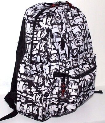 "Star Wars Storm Trooper School Backpack Bag Boys 16"" Black White"