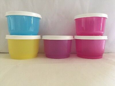 NEW Tupperware Snack Cups, Set of 5 WHITE Seal, 4-oz./120mL