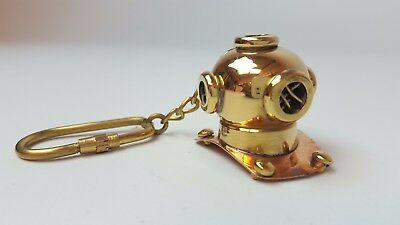 Divers Helmet Solid Brass Nautical Keyring Vintage Antique