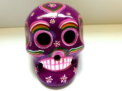 Cerámic skull,Calavera 2Wx3Hx3L in,purple color(diademuertos)hand painted by jhf