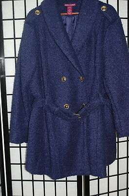 870e003ae59 Plus Size Wool Blend Lined Winter Coat Jessica London 18 Navy Blue Gently  Worn