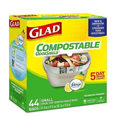 Glad 100% Compostable OdourShield  Easy-Tie  Small Bags Lemon Scent 44 Count