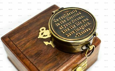 "Sailor's Art I would be lost without you Quote Antique Brass Compass 2"" With ..."