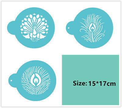 3 Pcs Packed Peacock Cookie Cake Stencil Decorate Mold Fondant Biscuit Tool
