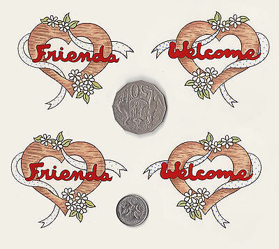 "4 x Waterslide ceramic decals Friend & Welcome 2 of each Approx. 2 3/4"" x  2 1/2"