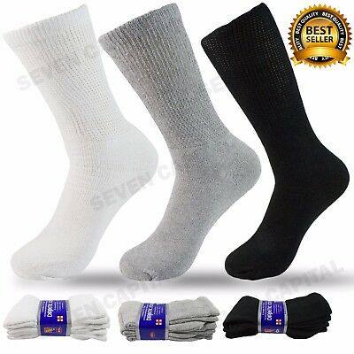 3 6 9 Pairs Mens Womens Diabetic Crew Circulatory Health Cotton Socks 9 - 13
