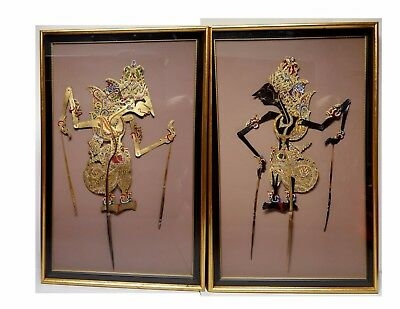 Pair of Framed INDONESIAN BUFFALO SKIN SHADOW PUPPETS WAYANG KULIT Very Rare!
