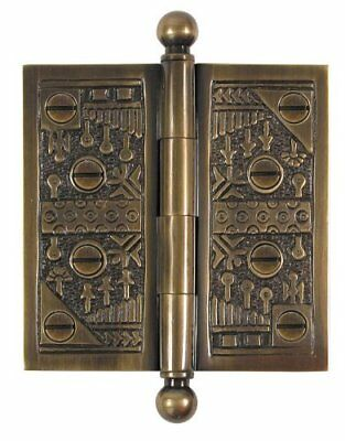 Brass Elegans WC005AB Solid Brass Windsor Design 4.5-Inch Decorative Door Hinge
